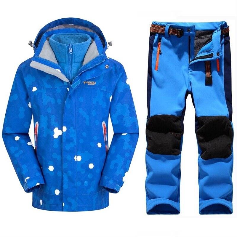 Hiver chaud imperméable bébé garçons filles escalade vêtements ensembles enfant manteau et pantalon vêtements d'extérieur pour enfants enfants ensembles 5-14 ans
