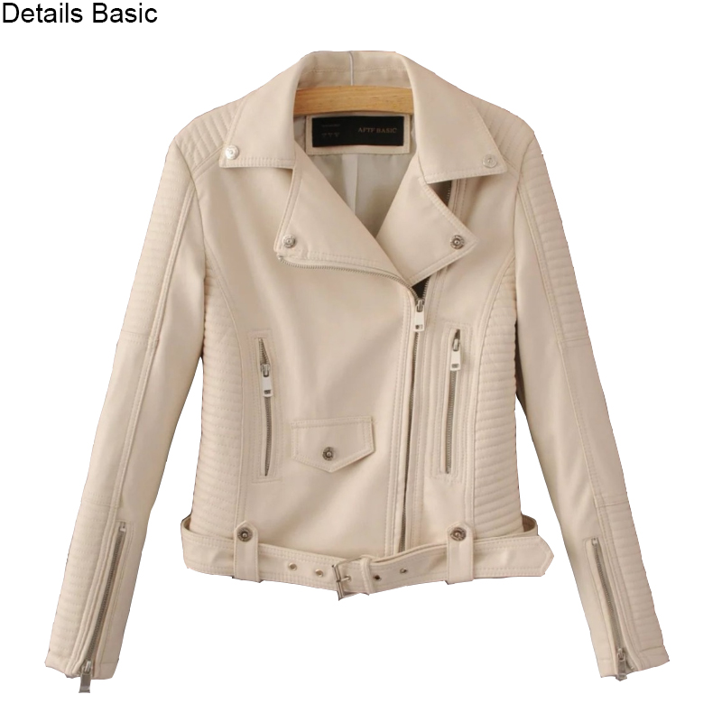 Women faux   leather   jacket black beige Biker Jackets Aviator coat new Short motorcycle Coats with Belt Female S-XL Jaqueta couro