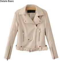 Women faux leather jacket black beige Biker Jackets Aviator