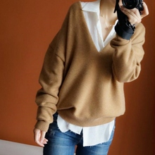 JECH Autumn winter New loose large size V-collar pure Cashmere Sweater fashion soft high-quality womens Sweaters knitting