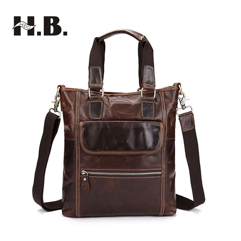 ФОТО HIBO Genuine leather men bag fashion crossbody bag Men's leather messenger bags shoulder bags designer handbags