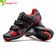 Santic Men Road bike Cycling Shoes Carbon Fiber Cycling Racing Team Bicycle lock Shoes Breathable Cycling