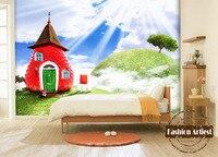 Custom 3d kids cartoon wallpaper mural fairy tale strawberry cottage on mountain sofa children bedroom living room background