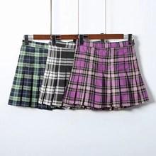 цена на 2019 Summer Women Harajuku Mini Skirts Girls Cute High Waist Plaid Skirts Empire Kawaii Thin Pleated Skirts
