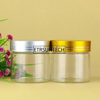 100ml Empty clear Cream Cosmetic Jar PET Conatiner Silver gold Aluminum Lid F1455