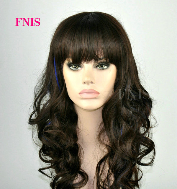 Fenis Branded Women Fashion Dark Brown Hair Highlights Blue Curly