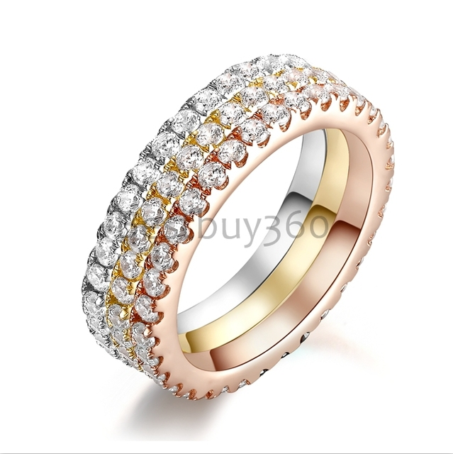 072CT Sona Simulated Diamond Infinity Silver Wedding Rings Set Three Color Tone Ring Bands