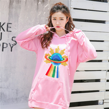 Yang Mi star with a loose sweater universe embroidered bag hip Hoodie dress 2017 new autumn