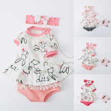 Newborn Girls Outfit Infant Bunny Rabbit Dress Tops+Shorts Set Suit Clothes carters baby girl baby girl summer clothes(China)