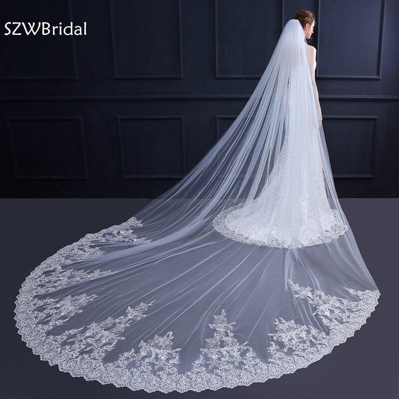 New Arrival Veils Bridal 2019 Ivory Long Bridal Veil Wedding Veil Veu De Noiva Welon Velo Voile Mariage Wedding Accessories