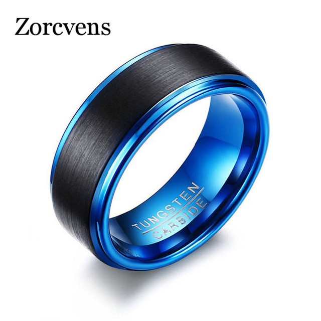 ZORCVENS Blue Tungsten Rings for Men Jewelry Classical Men Black and Blue Ring Never Fade