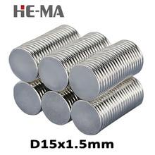 цена на 30Pcs 15x1.5 Neodymium Magnet Permanent N35 NdFeB Super Strong Powerful Small Round Magnetic Magnets Disc 15mm x 1.5mm