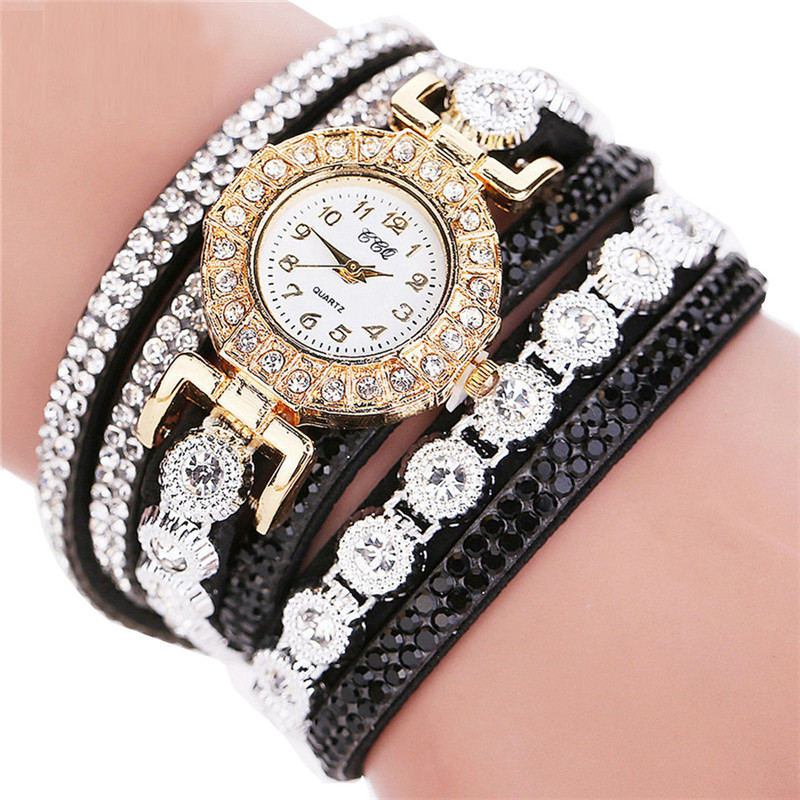 Luxury Women Watches Rhinestone Dial Ladies Fashion Quartz Wristwatch Wrap Leather  Strap Clock  Casual Dress  Reloj Mujer533