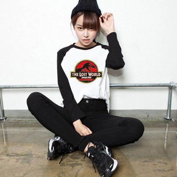 long sleeve jurassic park tshirt women autumn fall Black White Print T shirt Womens Tshirt Vogue Clothes Tee Top shirts