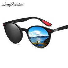 LongKeeper Hot Sale Classes Polarized Sunglasses Men Driver Shades Male Vintage Sun Glasses for Women Round Oculos de sol UV400