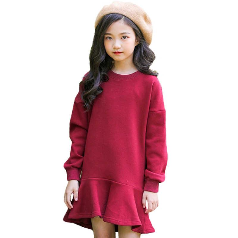 2018 Платья для маленьких девочек осеннее платье с длинными рукавами для девочек Хлопковое Фланелевое платье русалки для девочек, Осенний однотонный Свитшот