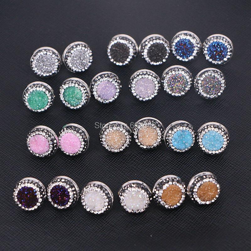 5Pairs Zyunz Jewelry Nature Titanium Quartz Geode Stone Earrings, Round Shape, Pave Cz Bezel Stone Stud Earrings