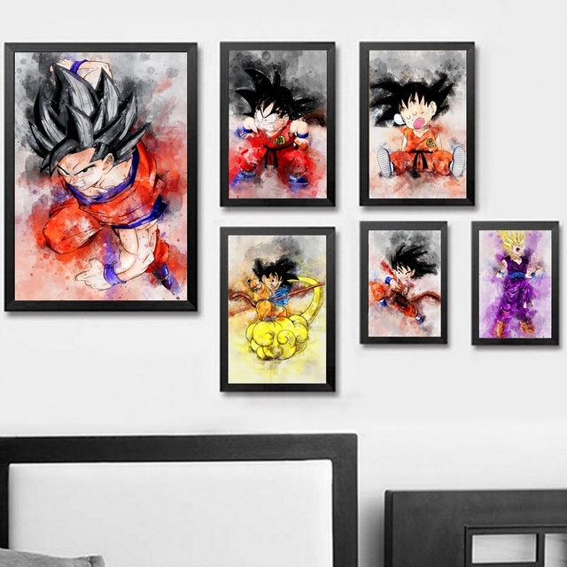 Aliexpress.com : Buy Dragon Ball Z Watercolor Abstract Wall Art ...