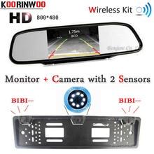 Koorinwoo Wireless Parktronic Auto License Plate Frame vista Posteriore fotocamera Frontale Cam Forma di Auto sensore di parcheggio Video del Monitor Dello Specchio