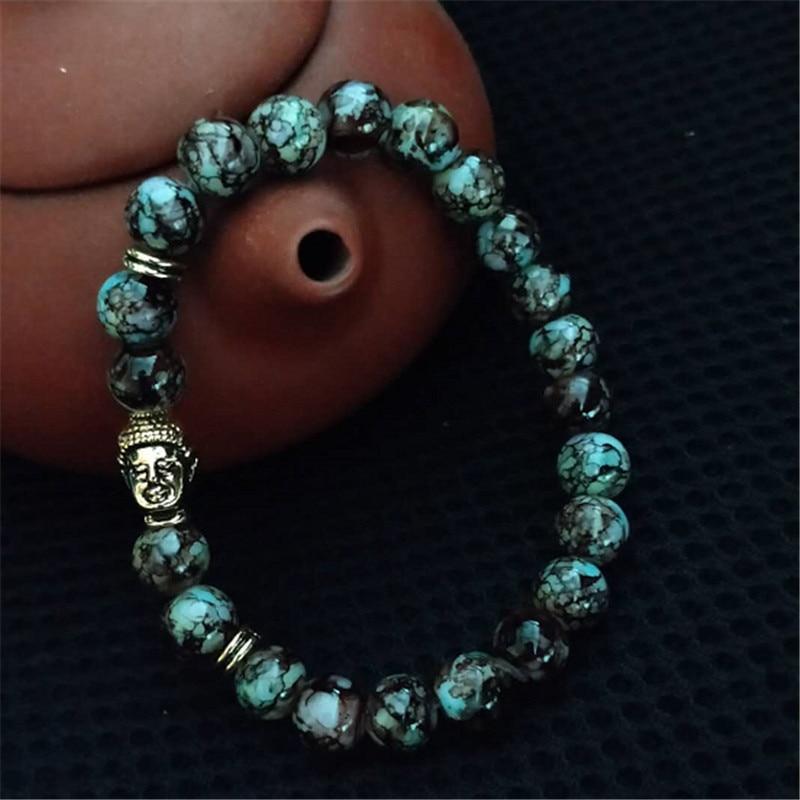 Hot Classic Gold Kleur Boeddha Hoofd Natuursteen Armbanden Mannen Multicolor Yoga Kralen Armband Voor Vrouwen Gift Sieraden Groothandel Van Het Grootste Gemak