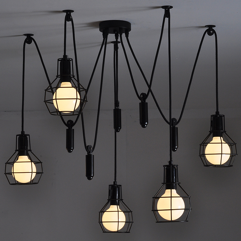 RH LOFT Edison Vintage Lifting Pulley Metal Cage 5-Lights Pendant Lamps Antique Industrial E27 Led Pendant Lamps for Cafe Bar bailey 7055 atmore