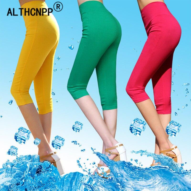 M-6XL Plus Size Summer Candy-colored Leggings Women Leginsy Damskie Slim High Waist Leggings Casual Ladies Shiny Leggings