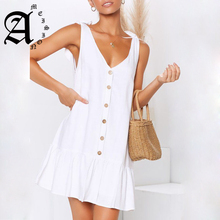 Ameision Summer Dress 2019 Women Sexy Lace-up Sleeveless Beach Solid Color  Button A-Line V-neck Elegant Ruffle Mini Dresses