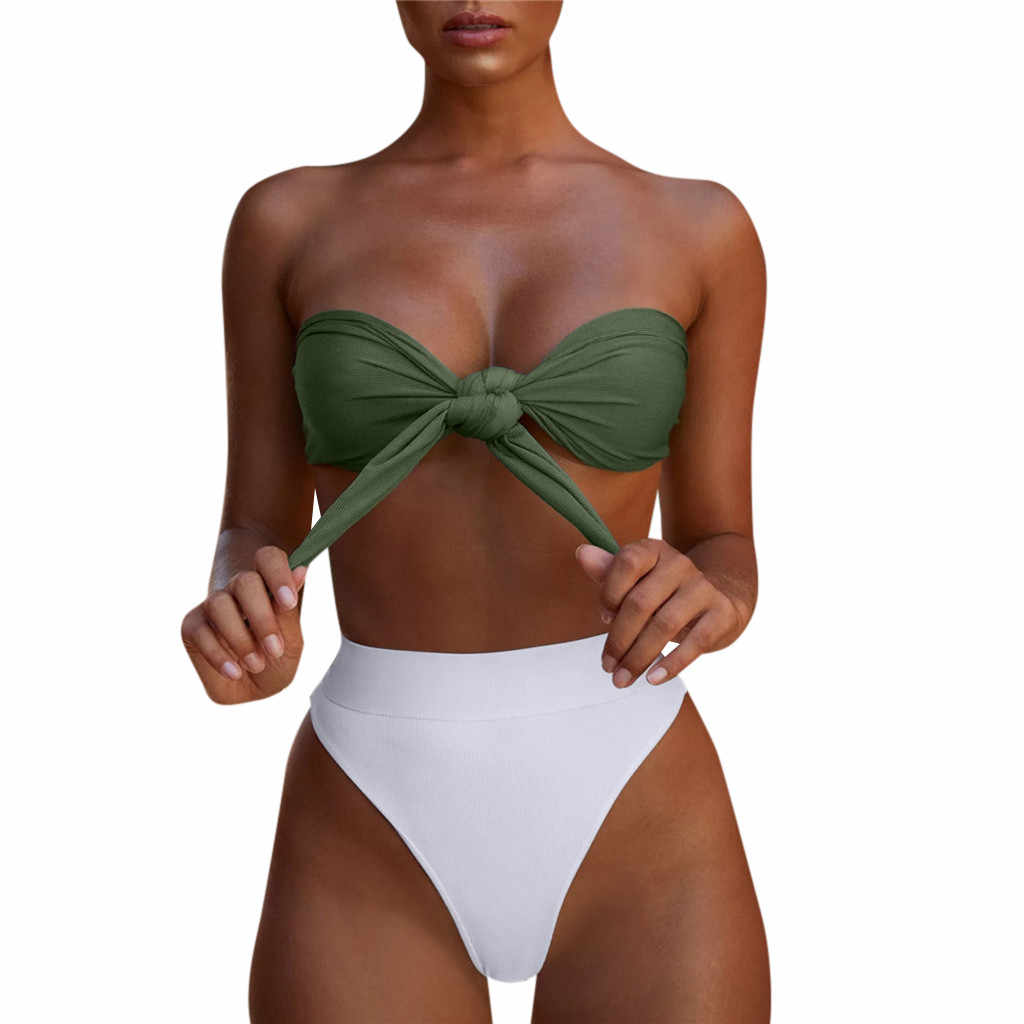 18c75ac6b8c Women's tube top knotted swimsuit suit mix color high waist bikini swimsuit  fashion sexy Brazil two