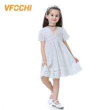 VFOCHI 2019 Brand New Girl Dresses Color White Girls Clothes V-Neck Lace Baby Girls Summer Dress Kids Dresses For Girls 2-10Y цена