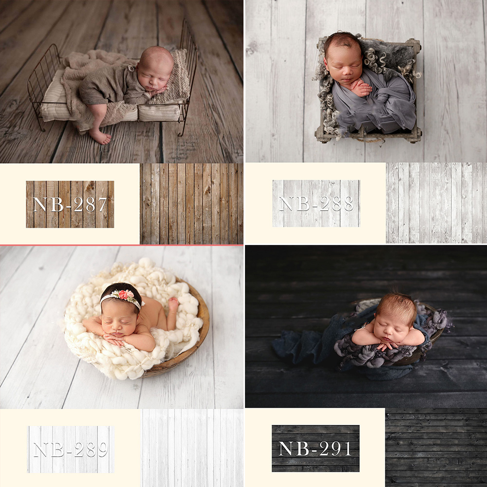 Newborn Backdrop for Photography Baby Shower Birthday Party Wood Floor Photo Background for Children Portrait Backdrops Studio(China)