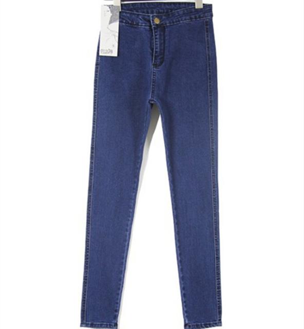 2016 moda vintage blue denim jeans mujer lápiz del dril de algodón ocasional estiramiento flaco pantalones vaqueros de cintura alta pantalones de las mujeres Más El tamaño de Verano caliente