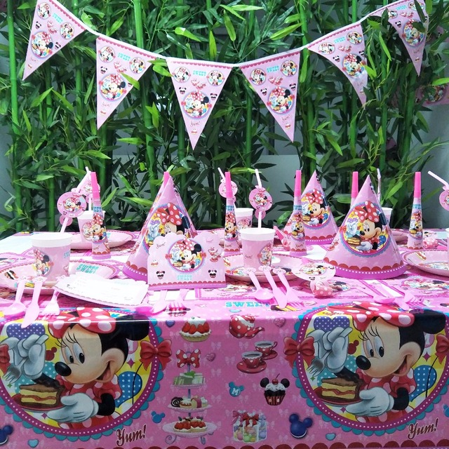 US $0 66 16% OFF|Aliexpress com : Buy Minnie Mouse Kids Birthday Party  Decoration Set Party Supplies cup plate banner hat straw loot bag fork