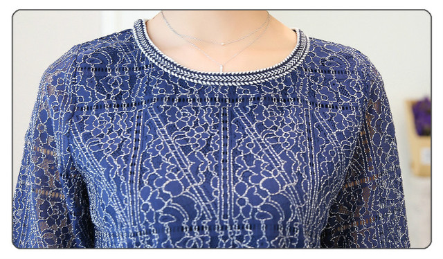 2018 Autumn new casual loose hollow embossed women blouse round neck plus size fashion lace women shirt top blusas 168A 30