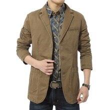 Новый блейзер мужчины Повседневная Пиджак Хлопок Куртка мужская slim fit Куртки Army Green Хаки Плюс Размер M-XXXXL