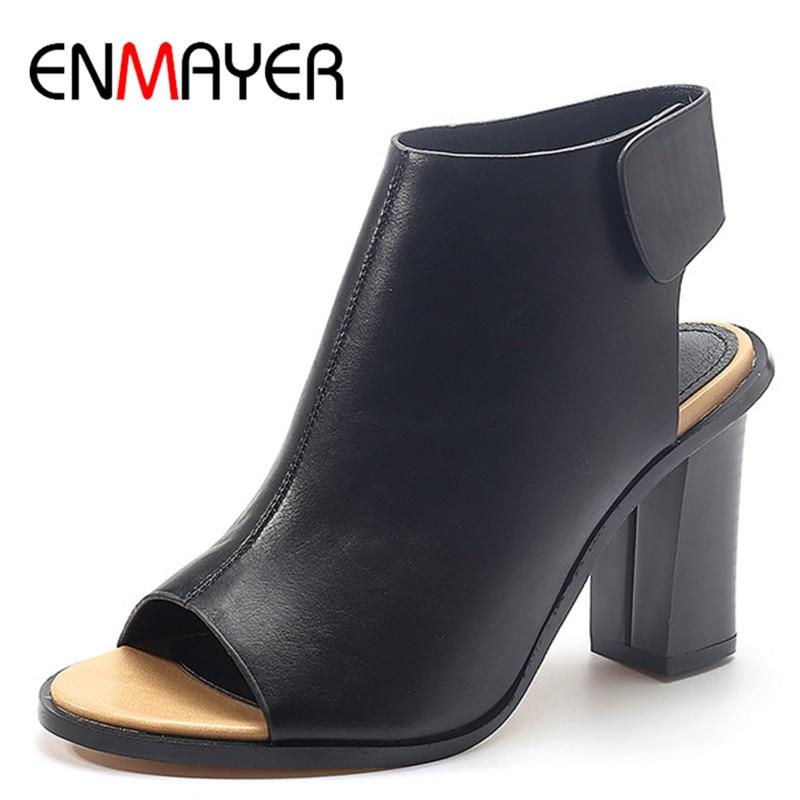 ФОТО ENMAYER Free Shipping 2017 Fashion Gladiator Pumps Shoes Women High Square Heels Peep toe Party Dress Shoes Large Size33-43