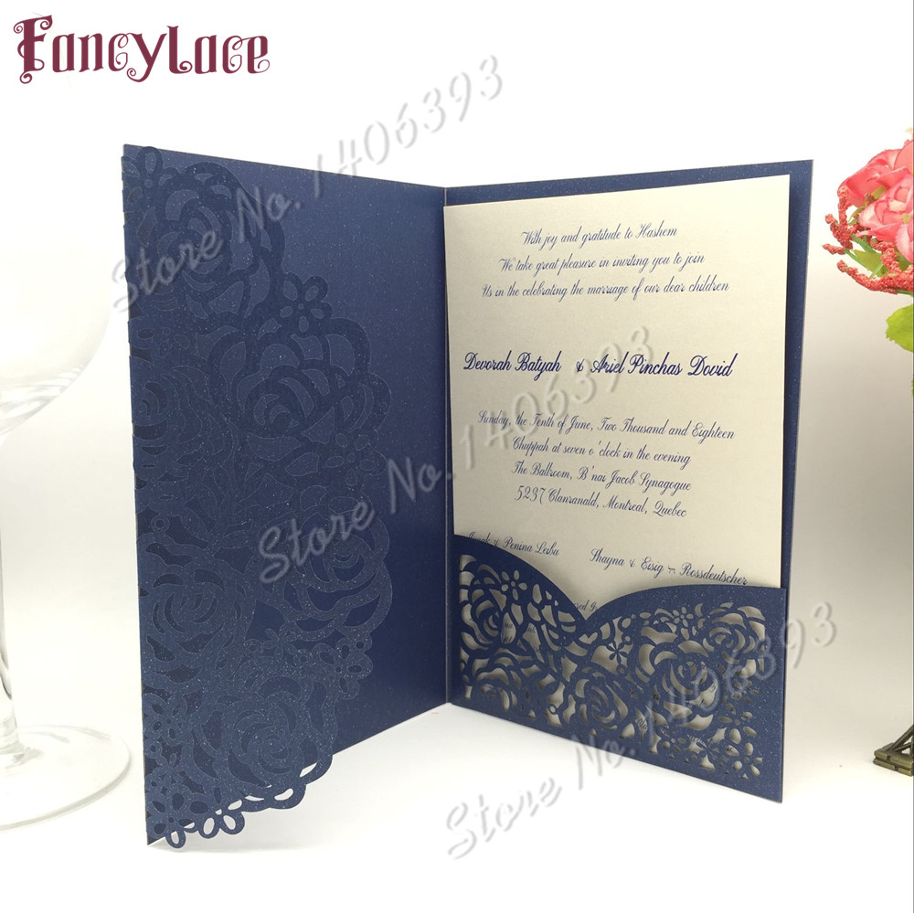 Us 38 63 16 Off Laser Cut Wedding Invitations Sets Lace Flower Card Blanks For Rsvp 50pcs In Cards