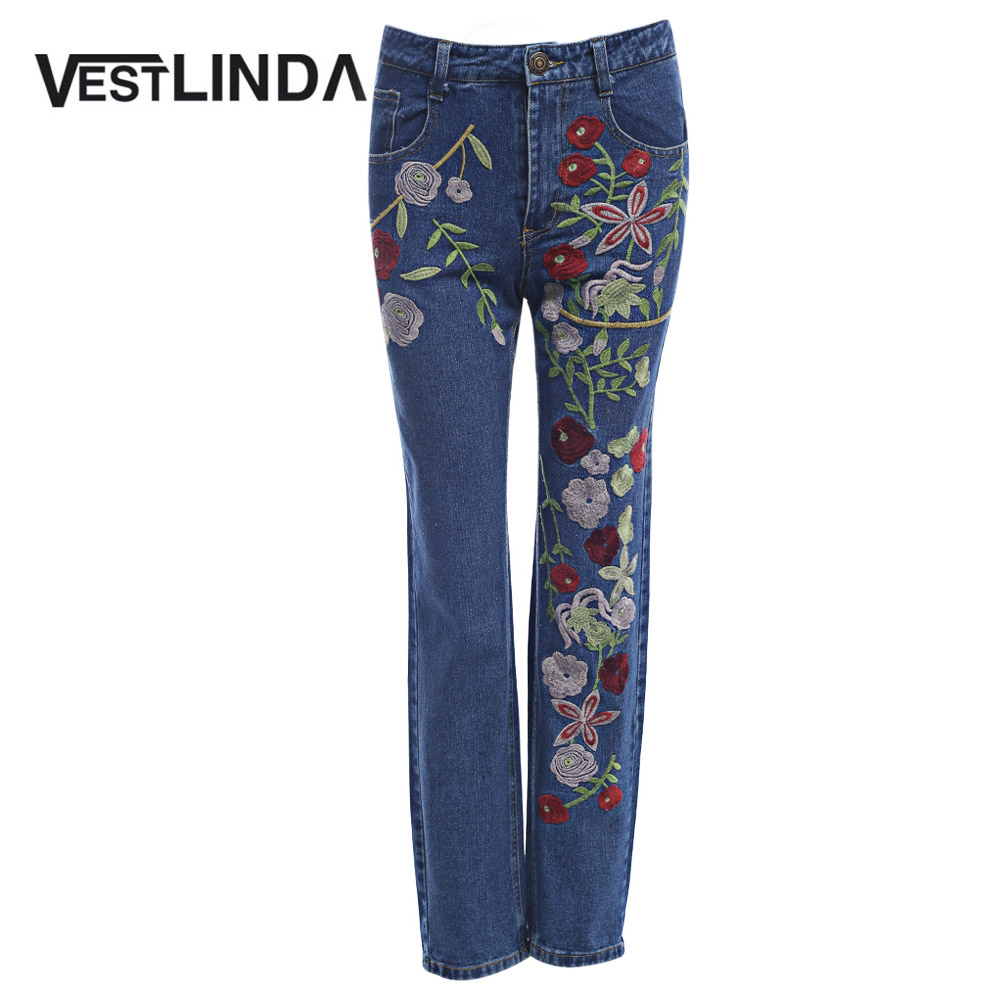 VESTLINDA Denim Embroidery Jeans Woman High Waist Straight Bottoms Boyfriend Jeans Female Pants 2017 Summer Casual Jeans Mujer flower embroidery jeans female blue casual pants capris 2017 spring summer pockets straight jeans women bottom a46