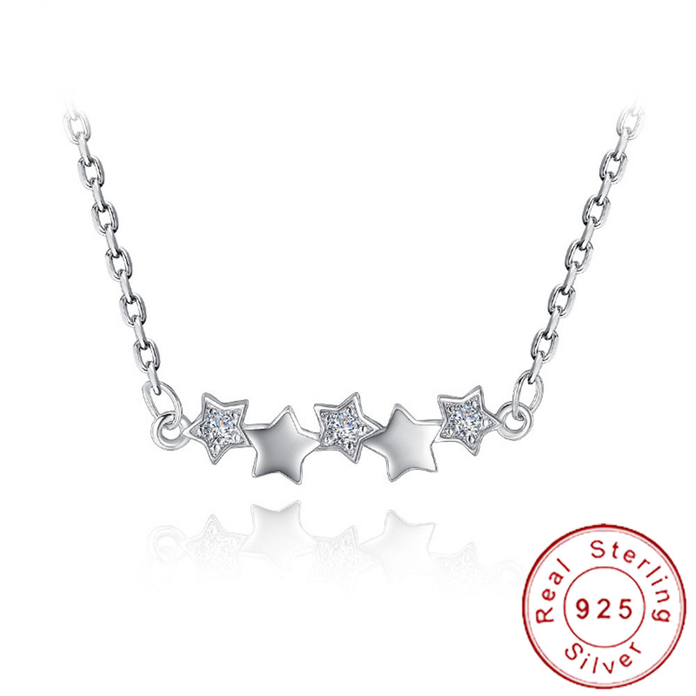 Minimalist 925 Sterling Silver Tiny Star Necklace Choker Cute Micro Pave CZ Neckless Girls Charm Collier Strass Colar SN025