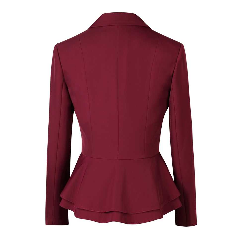 Zarif kadın takım elbise etek ofis bayan resmi fırfır bel tam kollu Blazer + etek tayt 2 parça Set ceket ve etek takım elbise