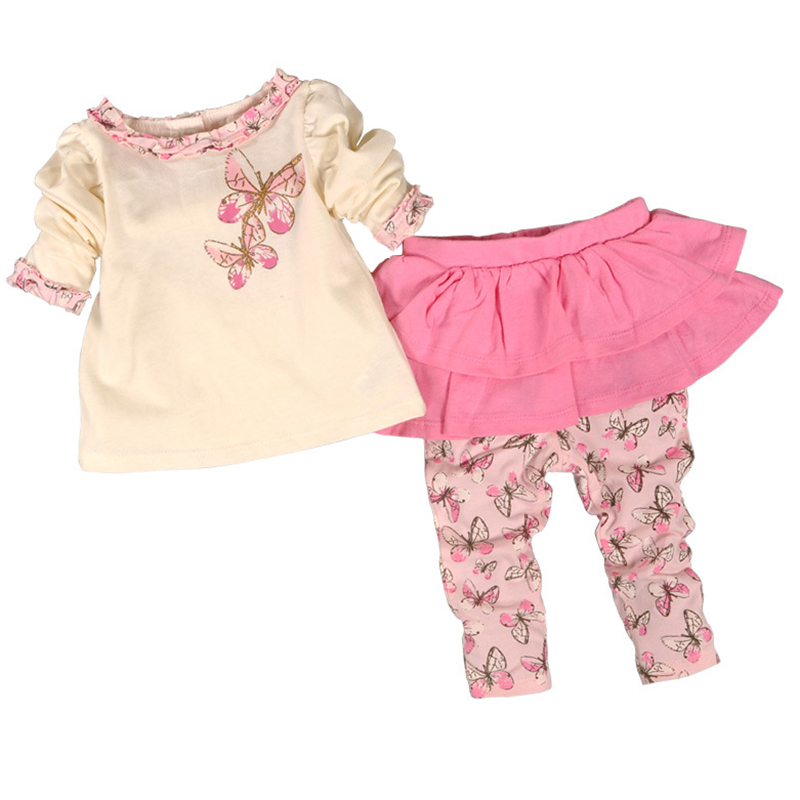 Baby Girl Clothes Set Divided Skirts + T Shirt Long Sleeve Autumn Spring Baby Girls Clothing Set Cotton Infant Girl Clothes mother nest 3sets lot wholesale autumn toddle girl long sleeve baby clothing one piece boys baby pajamas infant clothes rompers