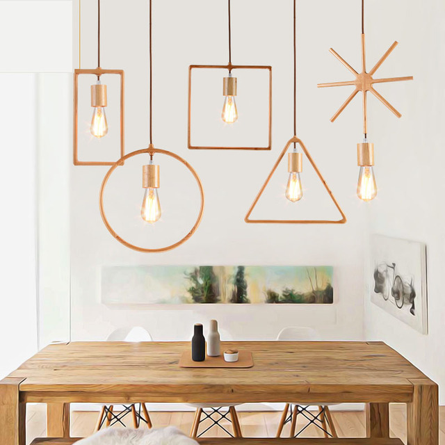 Simple modern personality creative wood chandelier home decorating ...