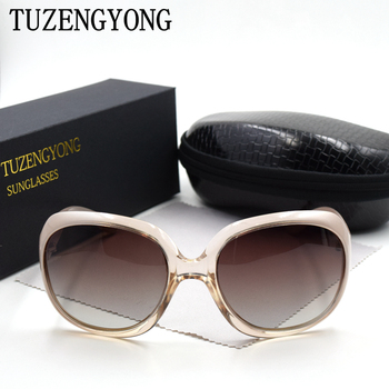 TUZENGYONG Sunglasses Women Brand Designer Oversized Frame Vintage Girls Oculos De Sol Polarized Sun Glasses With Case 2
