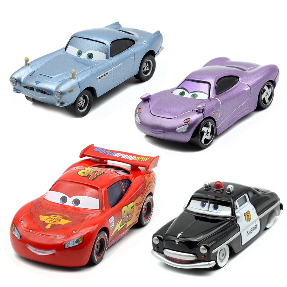 Disney Pixar Cars 2 Lighting McQueen Police Version 1:55 Scale Diecast Metal Alloy Car M ...