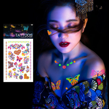 1 Sheet Luminous Temporary Tattoos Stickers Glow Dark Fluorescent Waterproof Butterfly Tattoo for Face Body Art Halloween Party