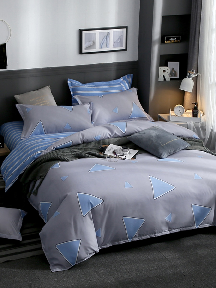 3/4 Pcs Bedclothes Set Geometric Pattern Modern Cozy Bed Linens 3/4 Pcs Bedclothes Set Geometric Pattern Modern Cozy Bed Linens