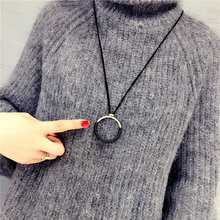 Fashion Simple Big Circle Pendant Necklace Long Rope Leather Sweater Chain For Women
