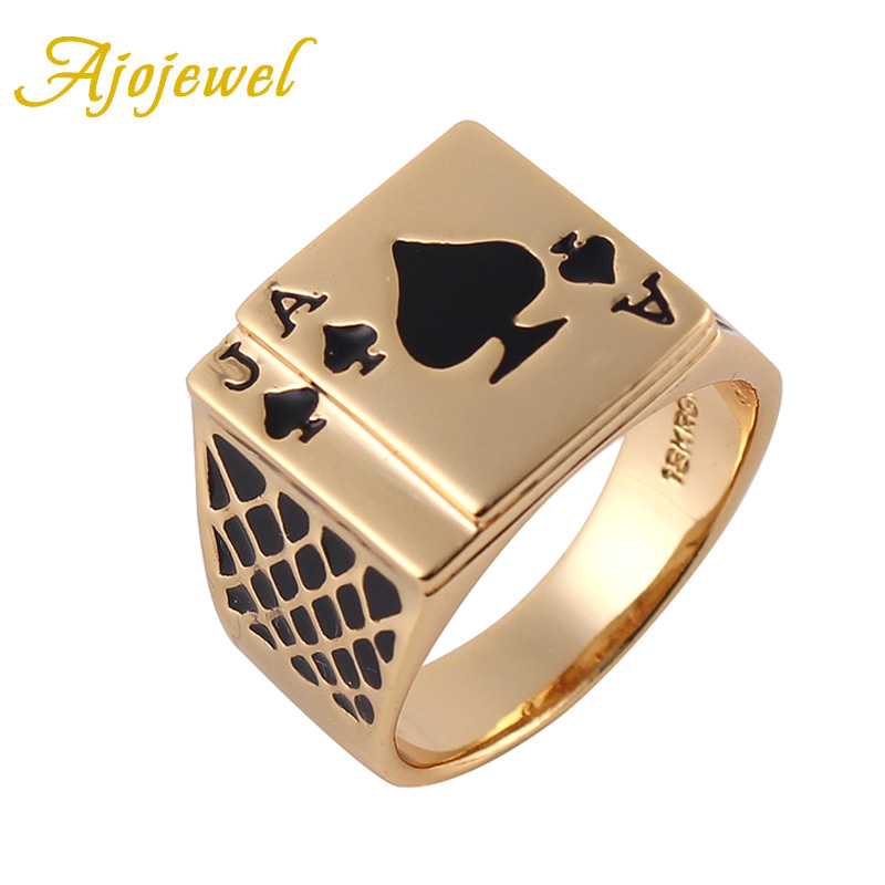 Ajojewel Size 8/9/10/11.5/12.5 Classic Design Cool Black Enamel Heart Anel Gold-color Poker Ring Men
