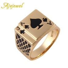 Ajojewel tamaño 8/9/10/11,5/12,5 diseño clásico Cool negro esmalte corazón Anel oro- anillo de póker de color para hombre