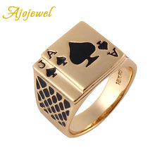 Ajojewel Size 8/9/10/11.5/12.5 Classic Design Cool Black Enamel Heart Anel Gold-color Poker Ring Men(China)