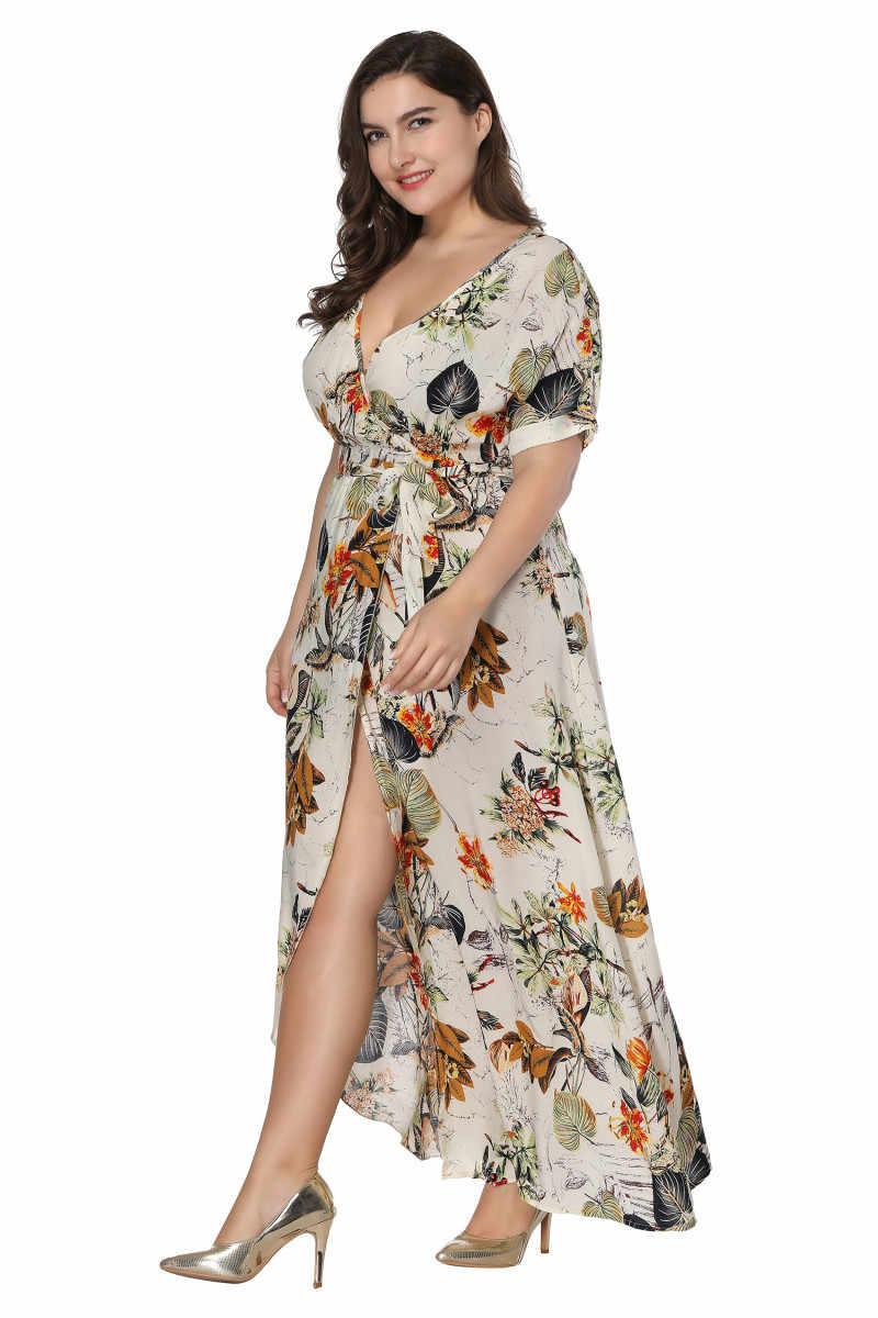 cfd414a42d ... Big Size Beach Maxi Dress Women Fat MM Vacation Summer Wrap Dress High  Waist Printing Short ...